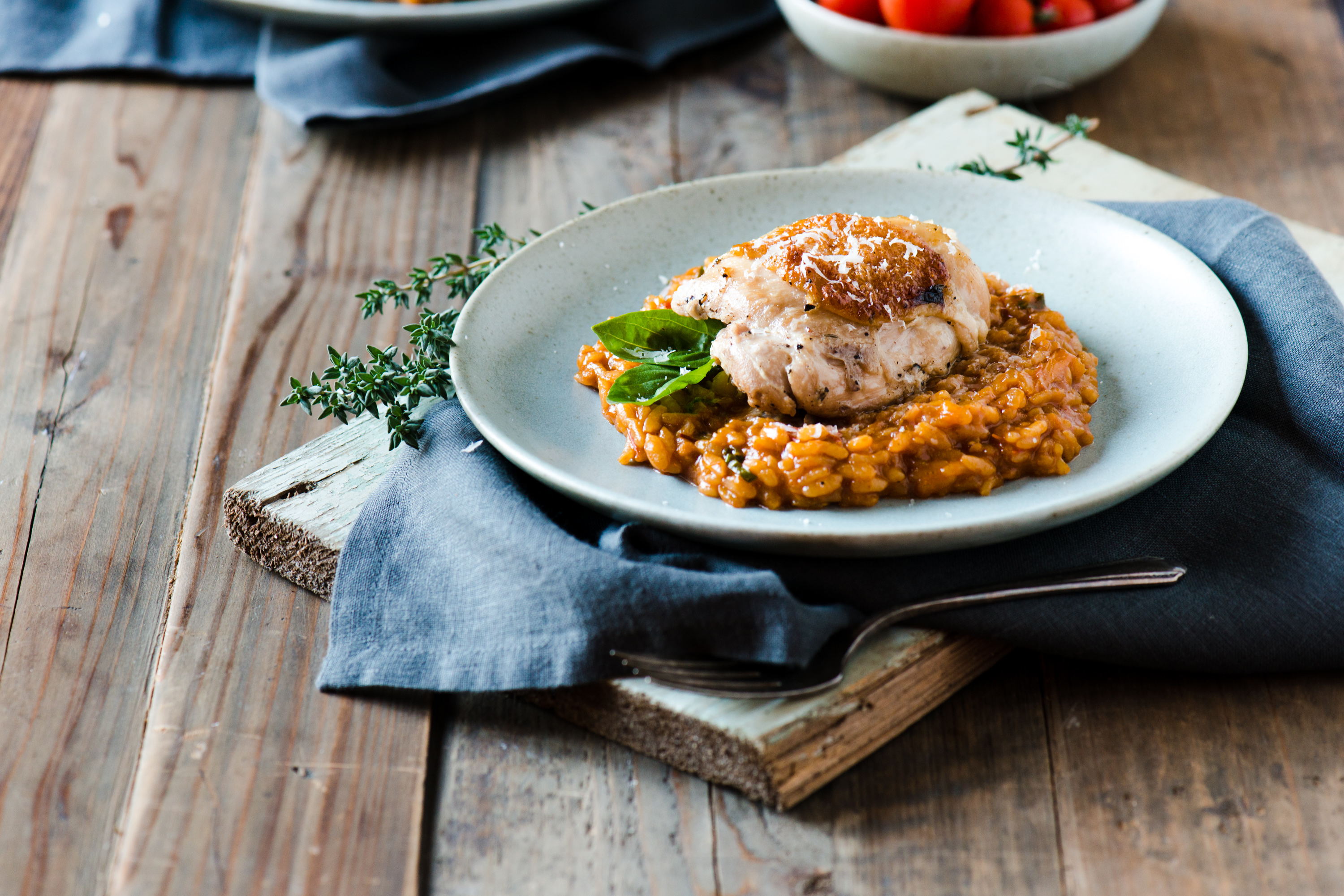 Roasted tomato risotto with braised chicken thigh for How do i make chicken risotto