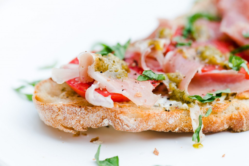 Tomato, Pesto, & Prosciutto Toast - The best way to use up freshly picked tomatoes.