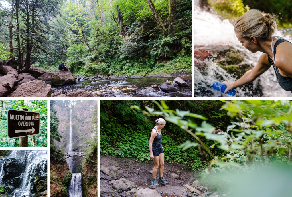 Hiking Multnomah Falls to Wahkeena Falls in Portland, Oregon.
