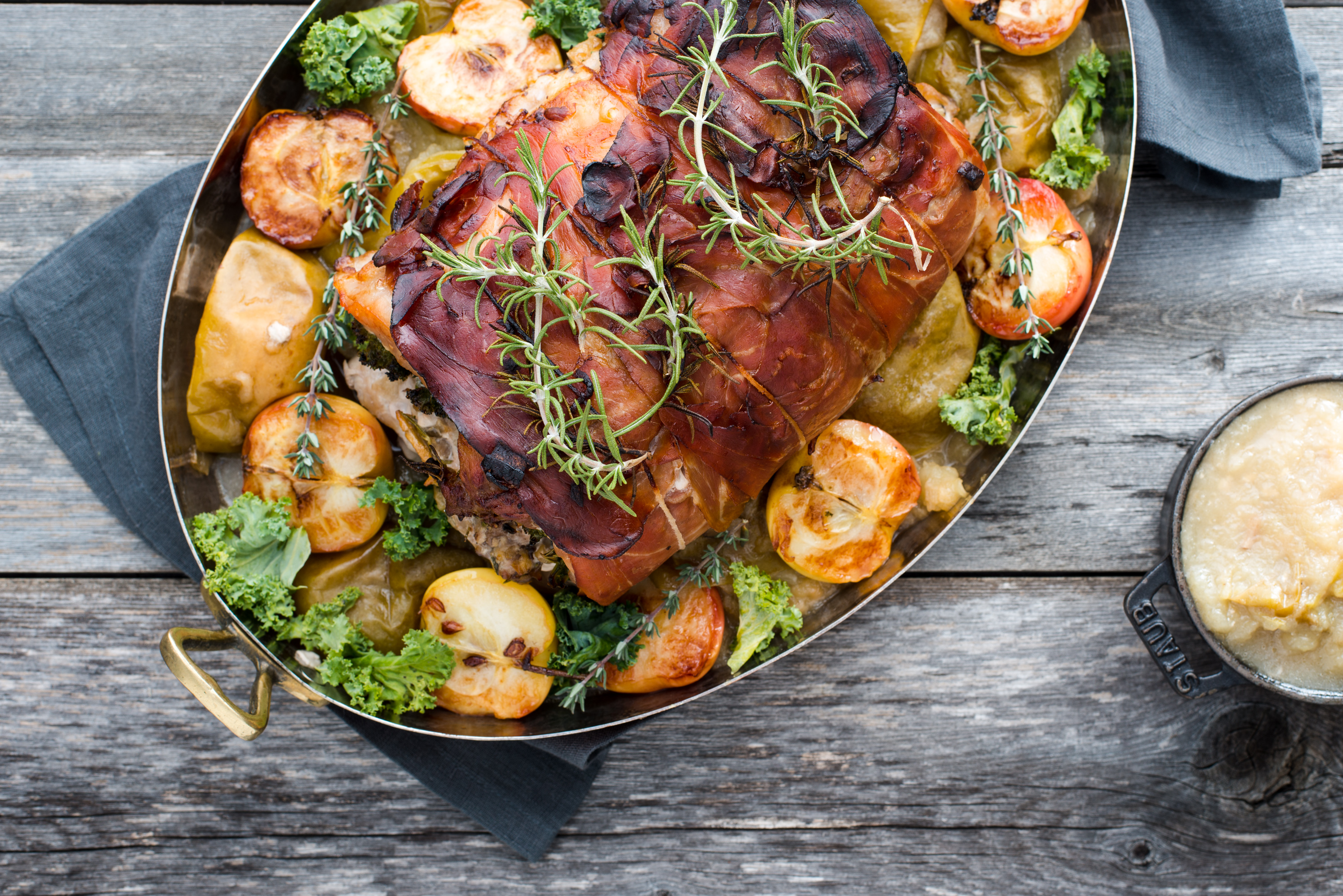 Prosciutto Wrapped Pork Loin with Roasted Apples - The stuffing of ...