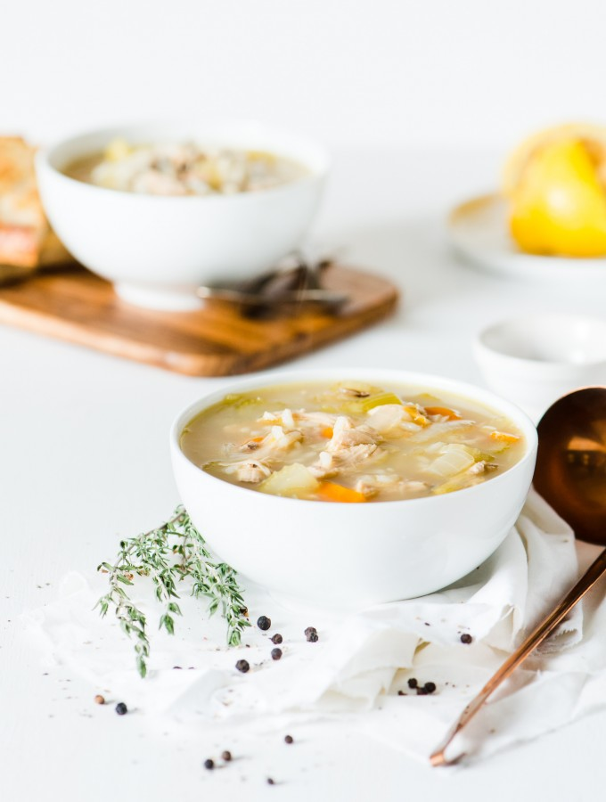 Turkey Wild Rice Soup - Filled with vegetables, wild rice, plenty of turkey, and fresh lemon juice.