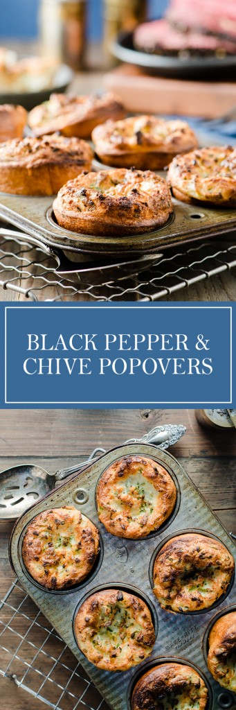 Black Pepper & Chive Popovers - Crispy on the outside, light and fluffy on the inside, these things are amazing!