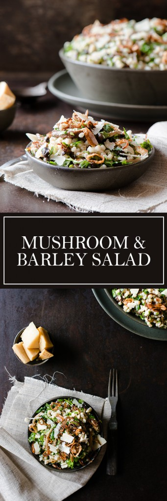 Mushroom & Barley Salad - Bright flavours of lemon & herb, mixed with savory butter basted mushrooms & fried shallots.