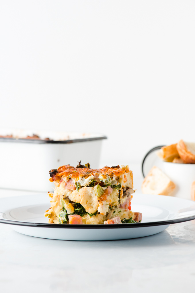 Mushroom, Kale, & Ham Breakfast Strata - Ready the night before, just pop it in the oven the next morning for an amazing brunch!