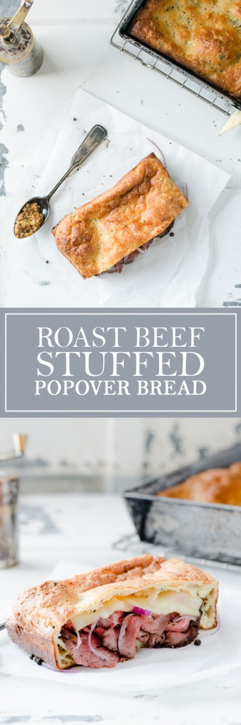Roast Beef Stuffed Popover Bread - It's like a Popover Pita! Best way to use up leftover beef and popover batter.