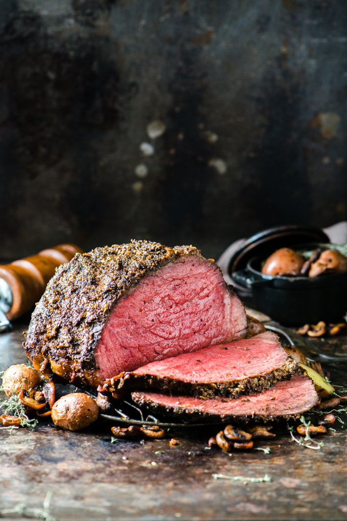 Mushroom Duxelles Roast Beef - Inspired by Beef Wellington, this beef is covered in a crust of dijon, mushrooms, shallots, garlic, and thyme, then roasted to perfection!