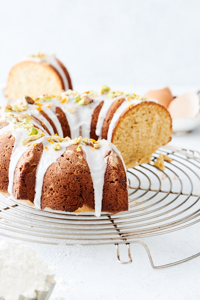 Pistachio Bundt Cake - A rich, dense bundt cake, flavoured with pistachio, and a hint of Orange Blossom Water.