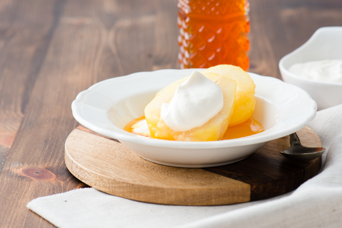 Cardamon & Saffron Poached Pears - These poached pears topped with tea infused whipped cream make a fantastic light dessert.